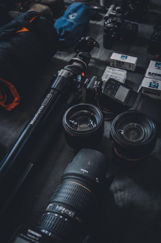 equipo de un fotógrafo profesional