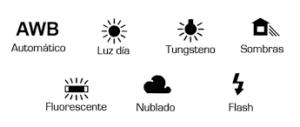 símbolos de las funciones de balance de blancos